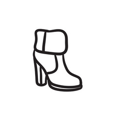 High-heeled ankle boot with fur sketch icon vector
