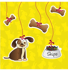 label of dog accesories containes bones food and d vector image vector image
