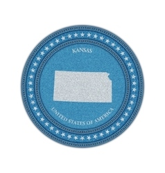 Label with map of kansas Denim style vector image
