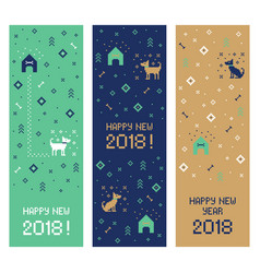 new year 2018 cross stitch dog banners pixel art vector image vector image
