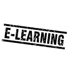 Square grunge black e-learning stamp vector