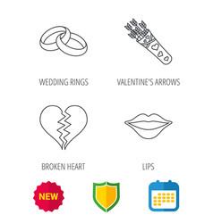 Broken heart kiss and wedding rings icons vector
