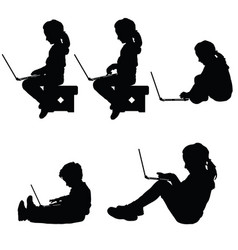 child silhouette sitting with laptop vector image vector image