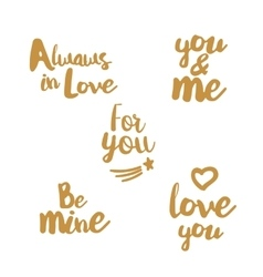 Hand lettering golden set about love vector