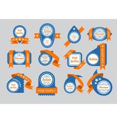 orange ribbon labels vector image vector image
