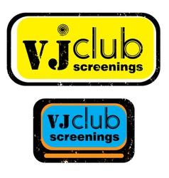 vj club screenings stamp vector image