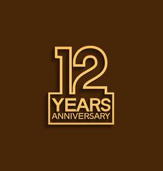 12 years anniversary design line style vector