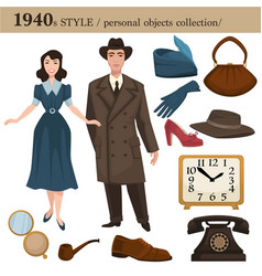 1940 fashion style man and woman personal objects vector