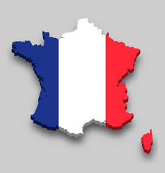 3d isometric map france with national flag vector