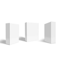 3d three blank white package box set vector image