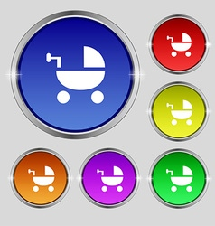 Baby Stroller icon sign Round symbol on bright vector image