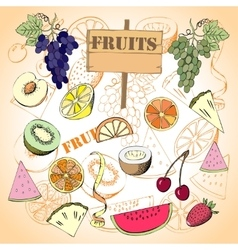 Background with fruit1-08 vector image