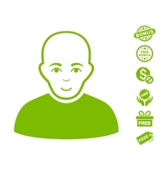 Bald Man Icon With Free Bonus vector
