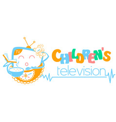 Banner children television vector