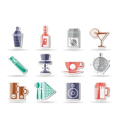 bar and drink icons vector image
