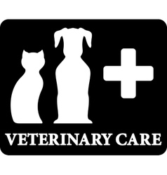 black veterinary care icon with pets and cross vector image