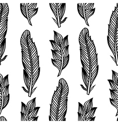 Black white seamless pattern with feathers Boho vector image