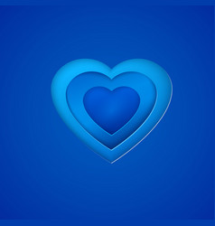 Blue paper heart on deep blue background vector