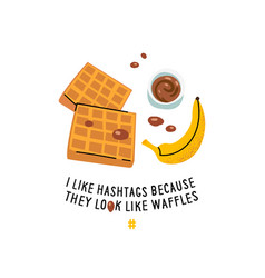 Breakfast poster belgian waffles with chocolate vector