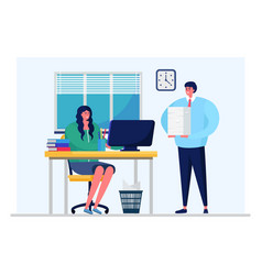 Business department daily work processes woman vector