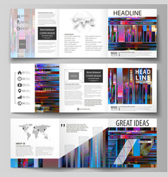 business templates for tri fold brochures square vector image