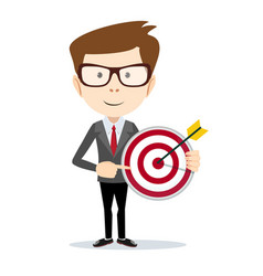 businessman pointing to the big target vector image