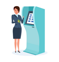 businesswoman stands next to terminal vector image