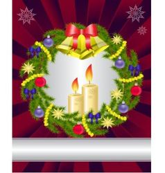 Candles and a Christmas wreath vector image