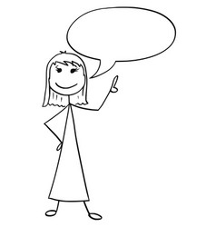 Cartoon of female woman with empty speech bubble vector