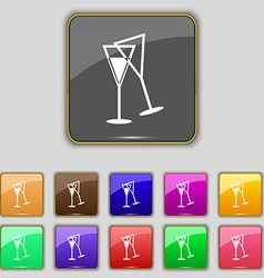 Champagne glass icon sign Set with eleven colored vector