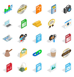 Coworking icons set isometric style vector