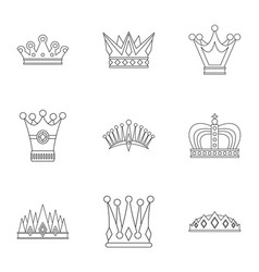 Crown icon set outline style vector