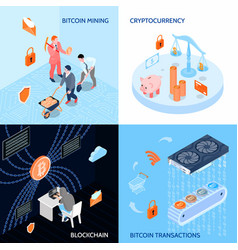 Crypto currency isometric design concept vector