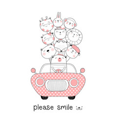 cute baby animals with car cartoon hand drawn vector image