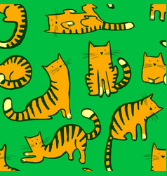 cute cats seamless pattern background with hand vector image