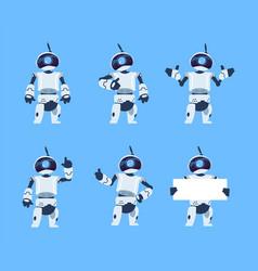 Cute robots cartoon android character set vector