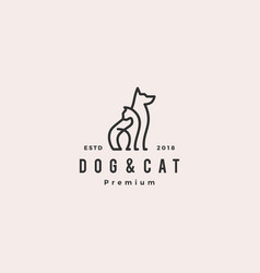 dog cat line outline monoline logo hipster retro vector image