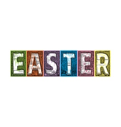 Easter Letterpress Textured Blocks vector image