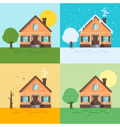 Ector flat style of houses in different seasons vector
