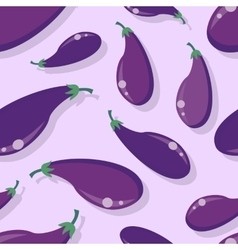 Eggplant Seamless Pattern in Flat Design vector image
