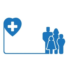 family silhouette on medical symbol vector image vector image