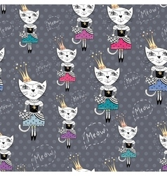Fashion cat pattern vector