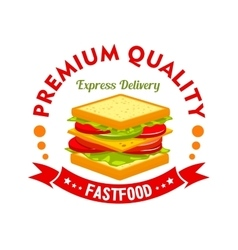 Fast food cafe and sandwich shop sign vector