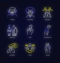 Feeling neon light icons set vector