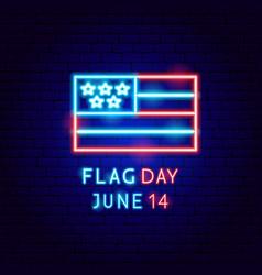 flag day usa neon label vector image