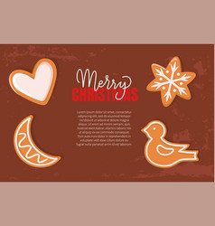 fresh gingerbread cookies merry christmas holiday vector image