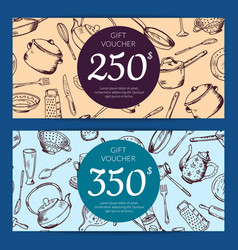 Gift voucher or discount card kitchen vector