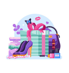 Gifts for womens day or ladies gift box vector