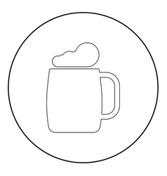 glass of beer the black color icon in circle or vector image