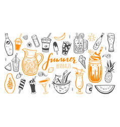 Hand drawn set cold drinks summer vector